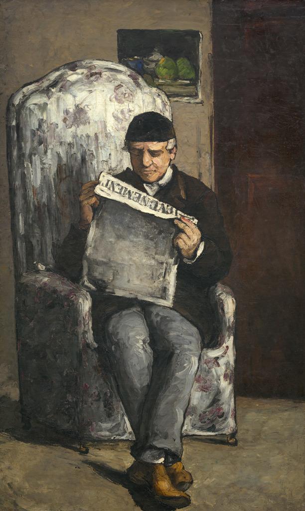 """Louis-Auguste Cézanne, père de l'artiste, lisant """"L''Evénement"""" 1866, Portraits de Cézanne, Musée d'Orsay"""