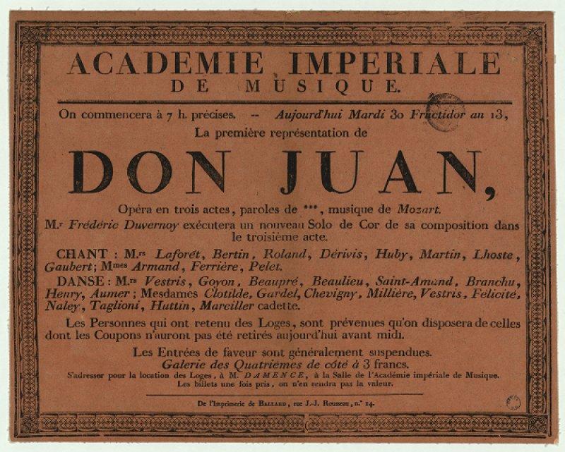 Affiche typographique de la première de Don Juan à l'Opéra de Paris, 1805