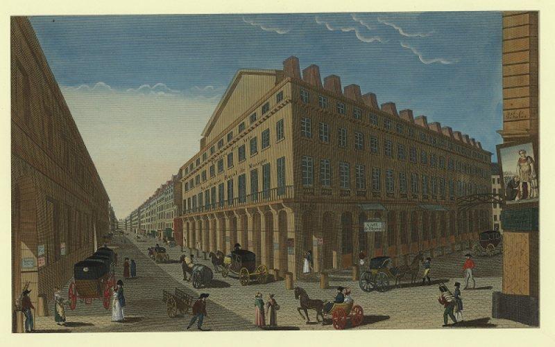 Vue du théâtre de l'Opéra (rue de Richelieu), estampe coloriée, 1807.