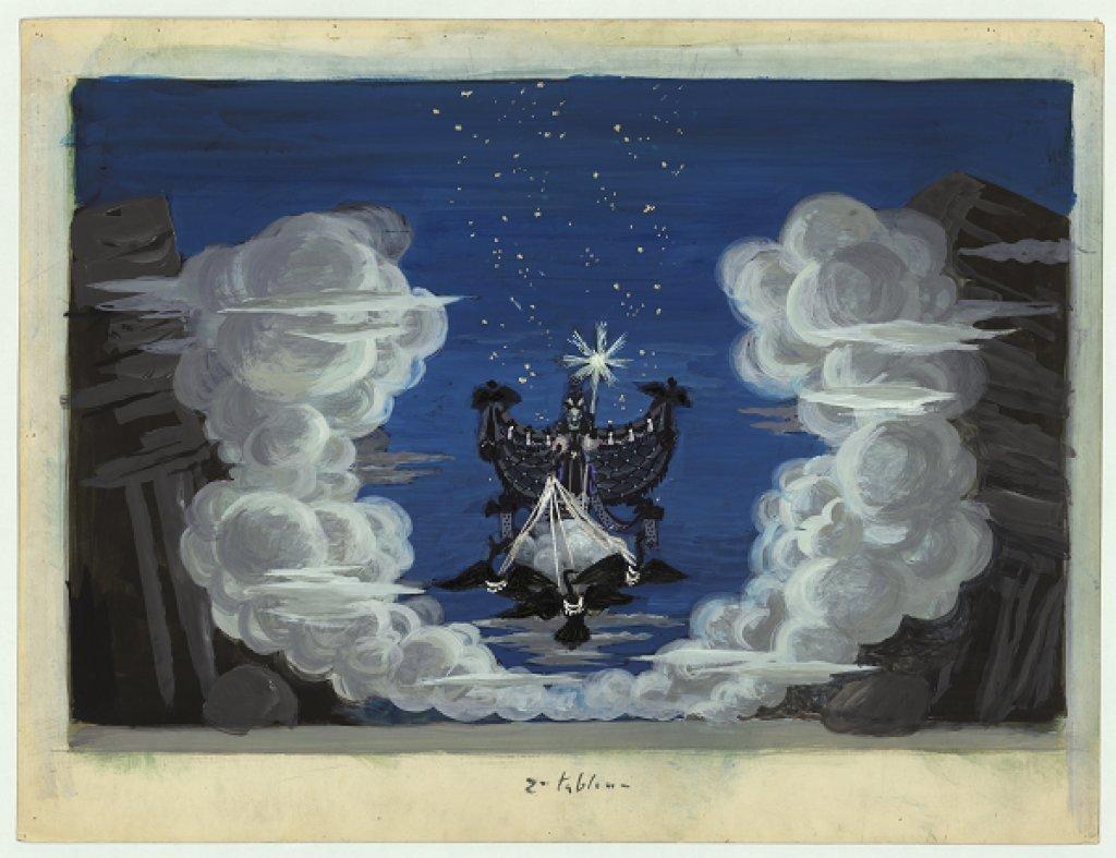 Chapelain-Midy, Projet de décor pour La Reine de la Nuit, tableau 2, 1954.
