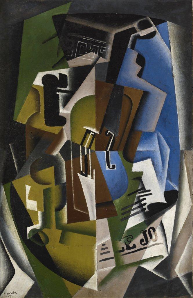 Violon et journal, Juan Gris, 1917 - De Zurbaran a Rothko, collection Alicia Koplowitz, Grupo Omega - Musee Jacquemart Andre