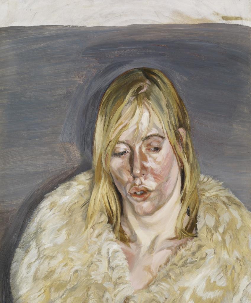 Jeune femme au manteau de fourrure - Lucian Freud, 1967 - De Zurbaran a Rothko, collection Alicia Koplowitz, Grupo Omega - Musee Jacquemart Andre