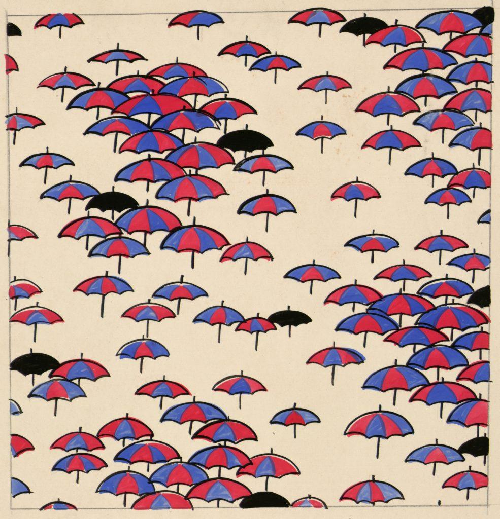 Etude pour tissu a motifs de parasols, Suzanne Lalique-Haviland, 1920 - Travaux de dames au Musee des Arts Decoratifs de Paris