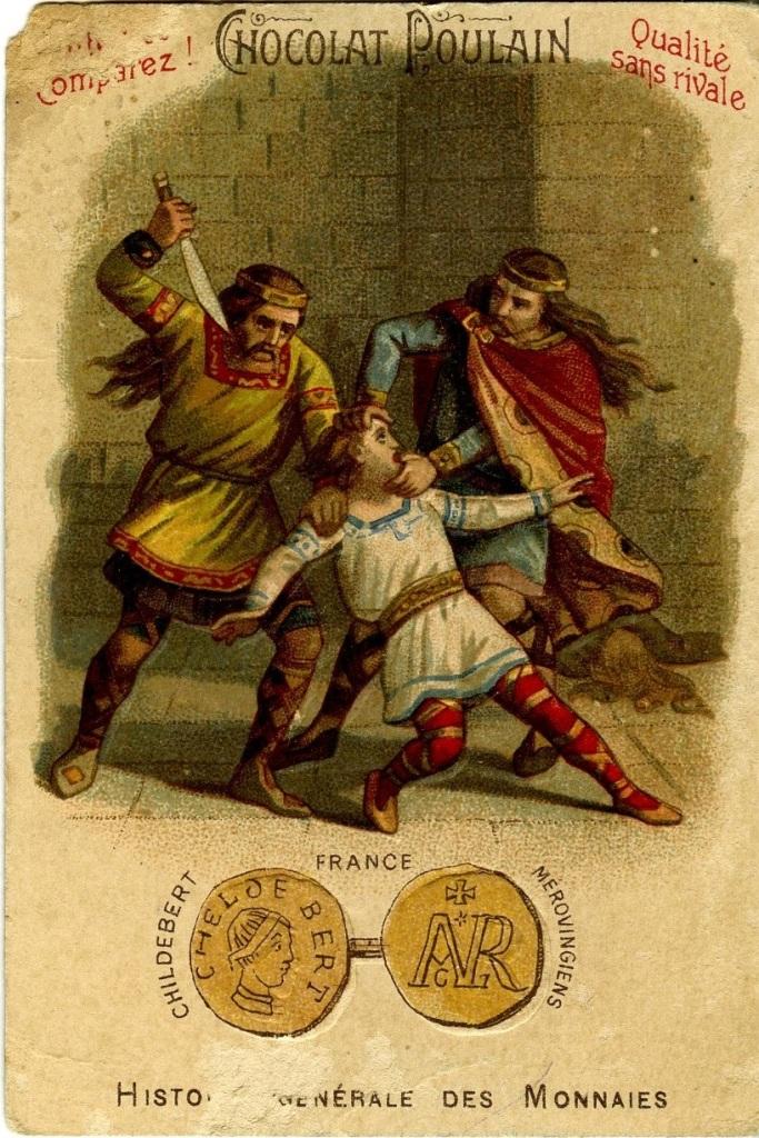 Carte Histoire Générale des monnaies mérovingiennes – Childebert Ier, Austrasie, Musée d'Archéologie Nationale