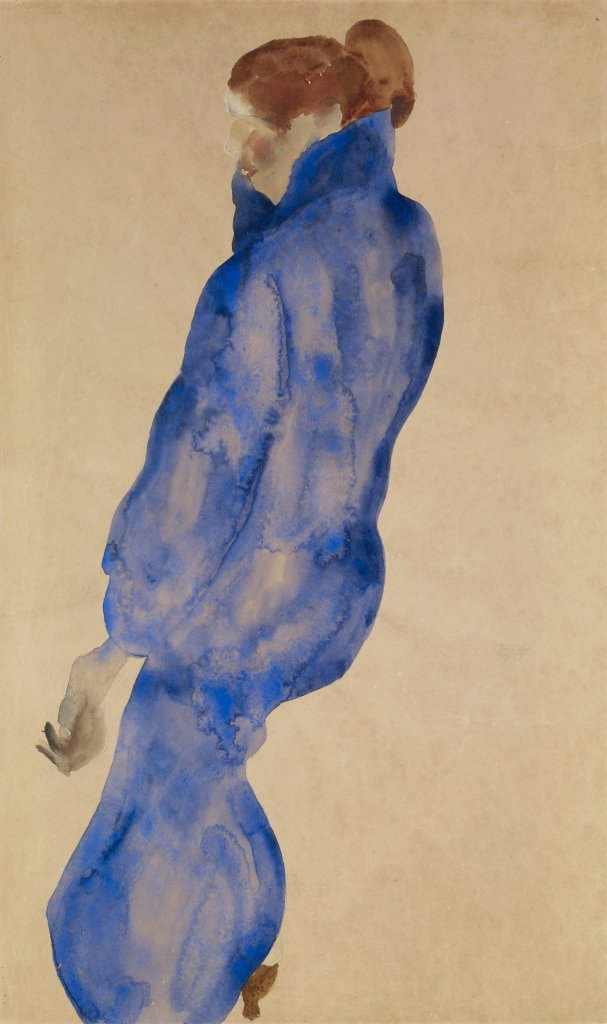 Femme a la robe bleue, Egon Schiele, 1911 - De Zurbaran a Rothko, collection Alicia Koplowitz, Grupo Omega - Musee Jacquemart Andre