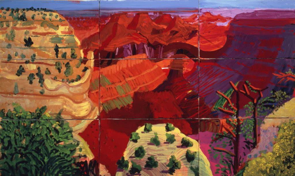 David Hockney 9 Canvas Study of the Grand Canyon 1998 Huile sur 9 toiles - Centre Pompidou