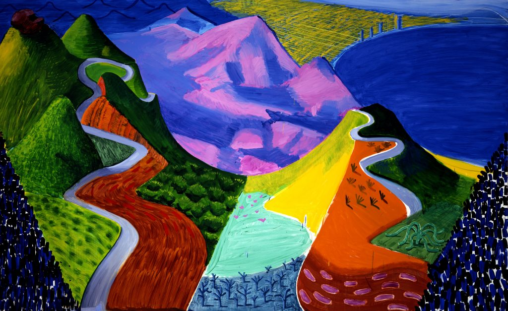 David Hockney, Pacific Coast Highway and Santa Monica 1990 Huile sur toile - Centre Pompidou