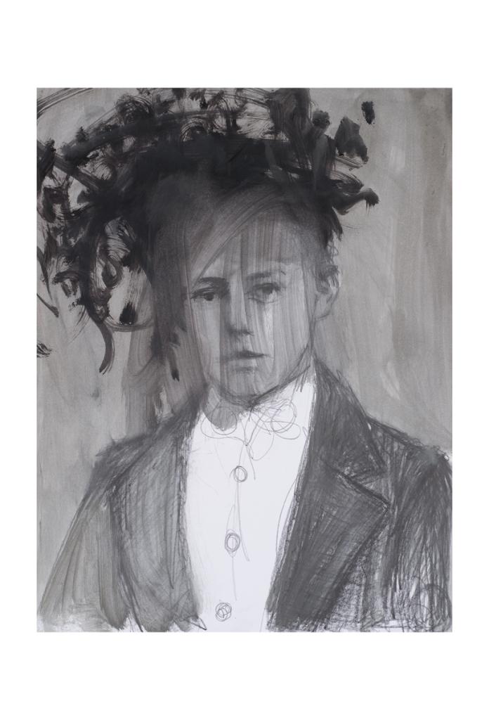 Graphite et huile sur papier, Paz Corona, Galerie Les Filles du Calvaire