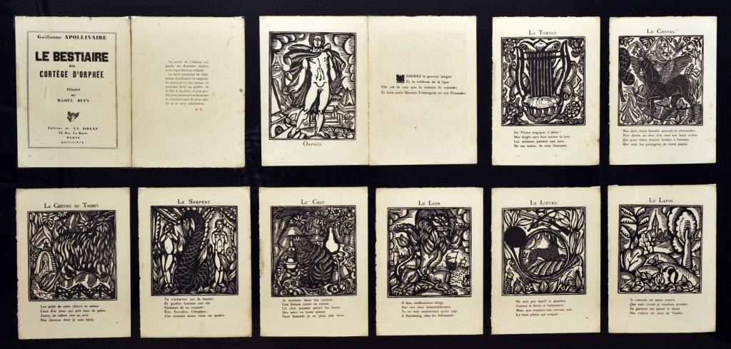 Guillaume Apollinaire et Raoul Dufy, Le Bestiaire ou Cortege d'Orphee, Paris, Editions de la Sirene, 1919 - Exposition Les couleurs du Bonheur au Musee Jean Cocteau, Menton