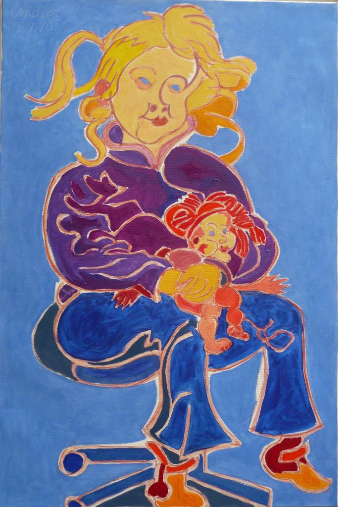 Henri Landier, Valentine à la poupée, 2010 - Henri Landier, Vive la vie ! à l'Atelier d'Art Lepic