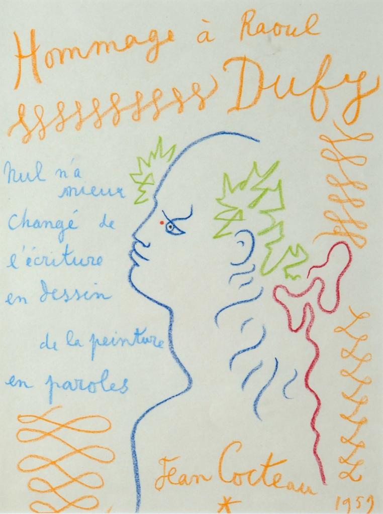 Jean Cocteau, Hommage a Raoul Dufy, 1959 - Exposition Les couleurs du Bonheur au Musee Jean Cocteau, Menton