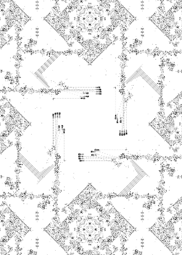 Jean-Paul Delahaye et Olivier Perriquet, Naissance si 3, survie si 2 ou 3 (Le Jeu de la Vie), 2017 - Le reve des formes au Palais de Tokyo