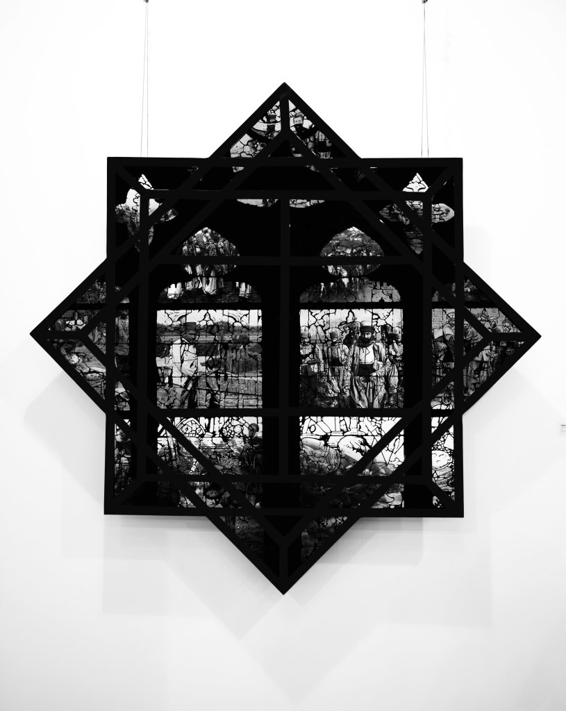 Of the confused memory (2015), print on glass, metal, Medhi-Georges Lahlou, Galerie Rabouan Moussion