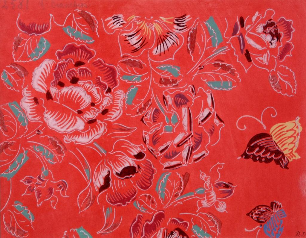 Raoul Dufy, Composition fleurs et papillons sur fond rouge, vers 1920-1924 - Exposition Les couleurs du Bonheur au Musee Jean Cocteau, Menton