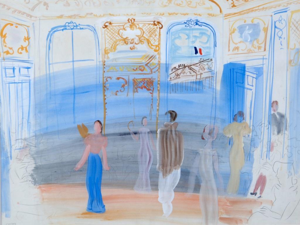 Raoul Dufy, Presentation de mode chez Schiaparelli, 1935 - Exposition Les couleurs du Bonheur au Musee Jean Cocteau, Menton