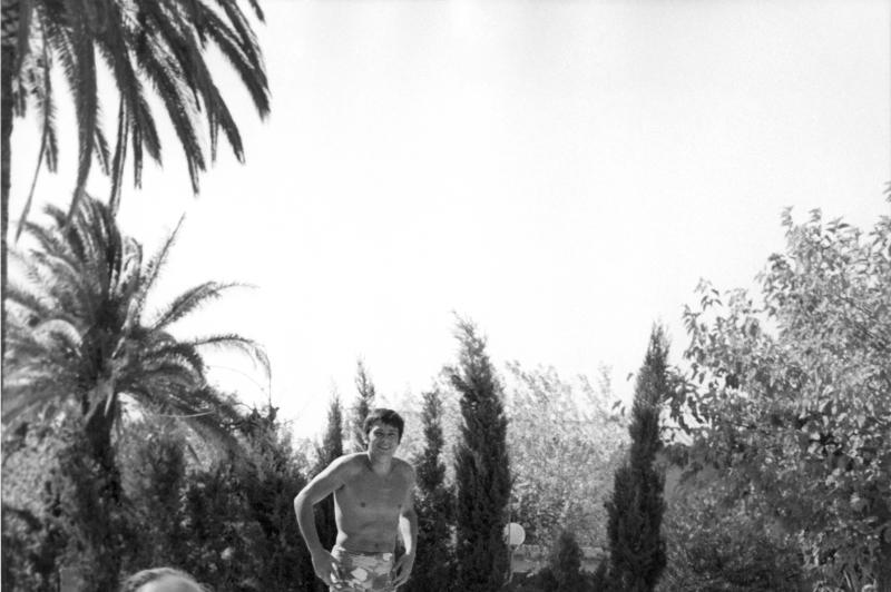 Romy Schneider, Alain Delon et Maurice Ronet,pendant le tournage de La Piscine de Jacques Deray, 1968
