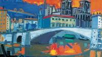 1-Lyon, le pont Bonaparte et Saint Jean, huile sur toile, 116 x 89cm, vers 1985