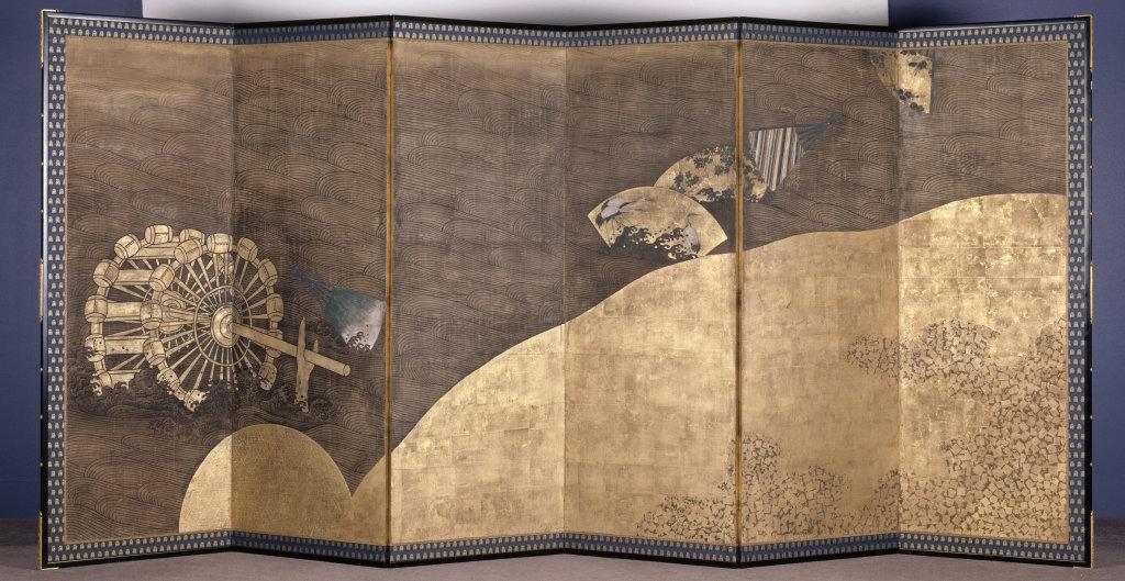 Paravent (faisant partie d'une paire) aux eventails flottants sur la riviere - 113 ors d'Asie au Musee Guimet