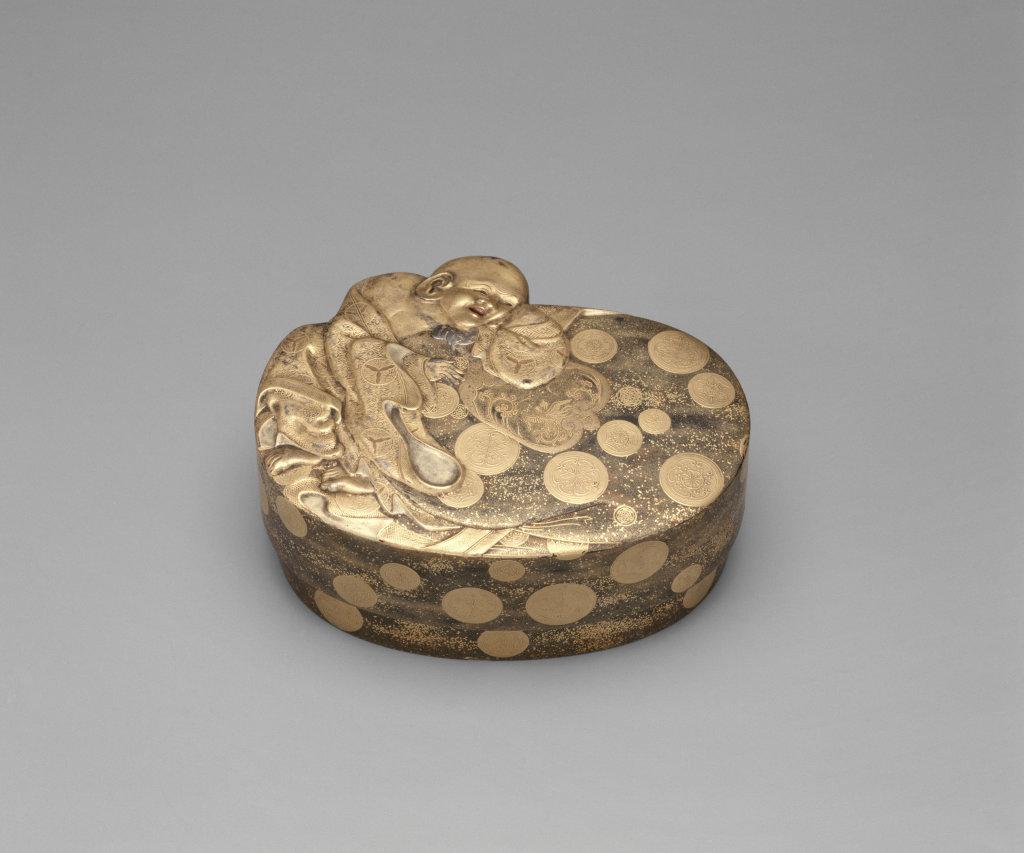 Boîte intégrant la silhouette d'Hotei, dieu de la Bonne Fortune, penché sur sa besace