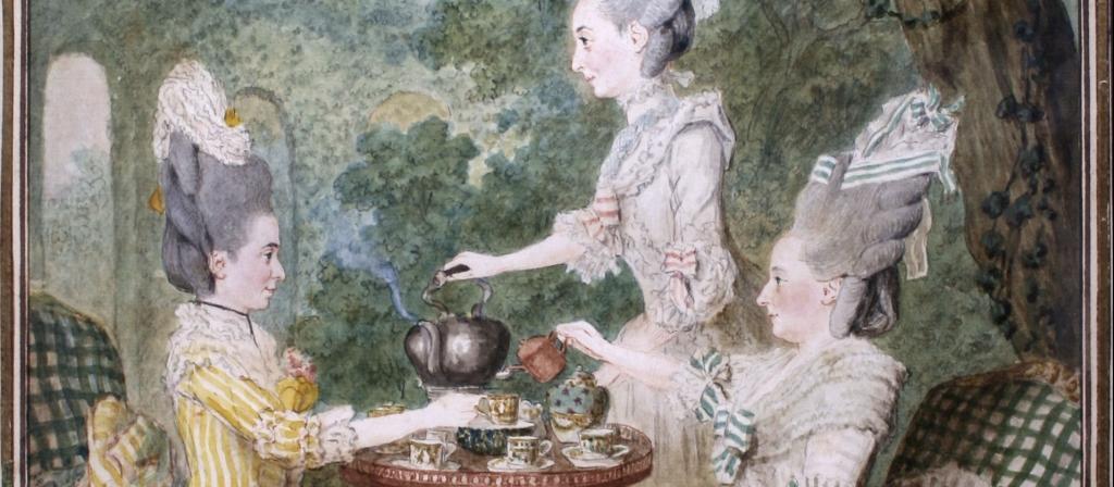 Carmontelle, Marquises Montesson du Crest buvant le the - Ouverture du Cafe Ephemere du Musee Cognacq-Jay jusqu'au 1er octobre