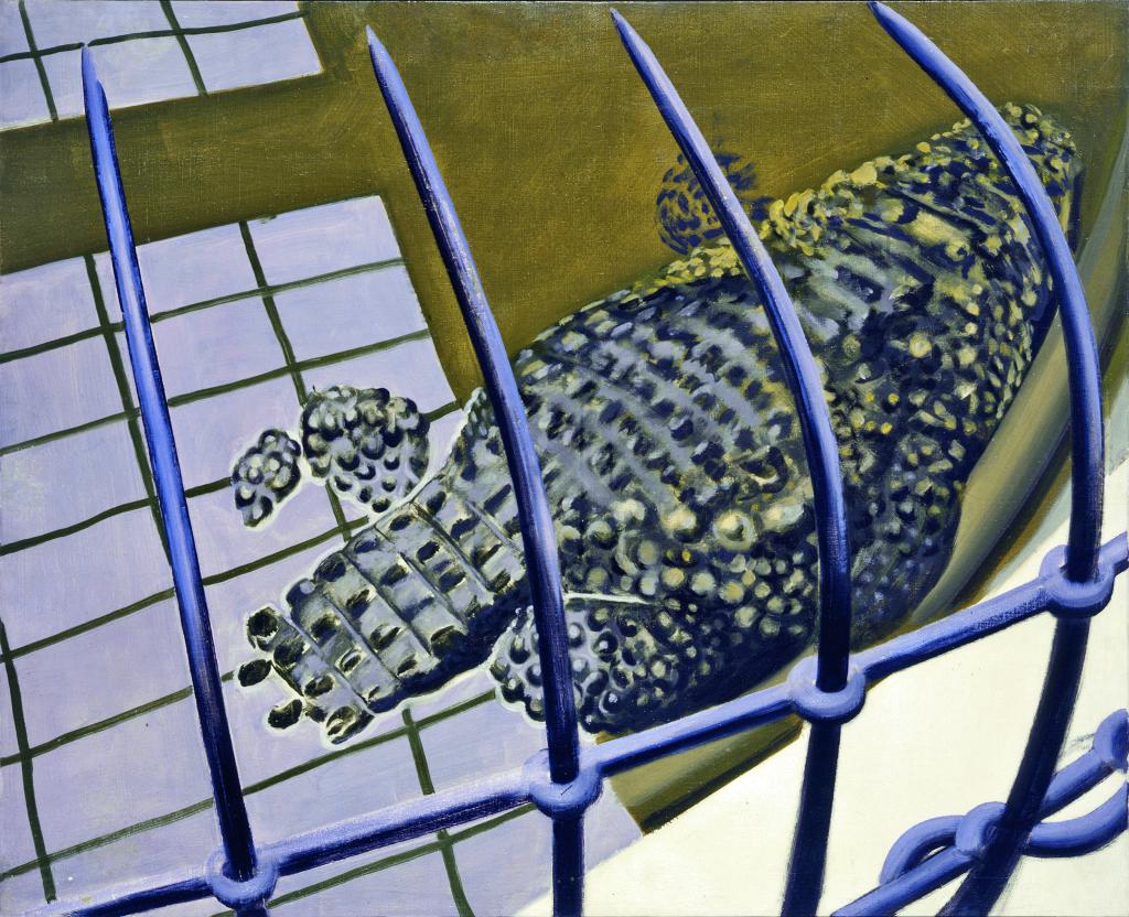 Dos de crocodile dans l'eau, Gilles Aillaud- Grand Trouble, Halle St Pierre
