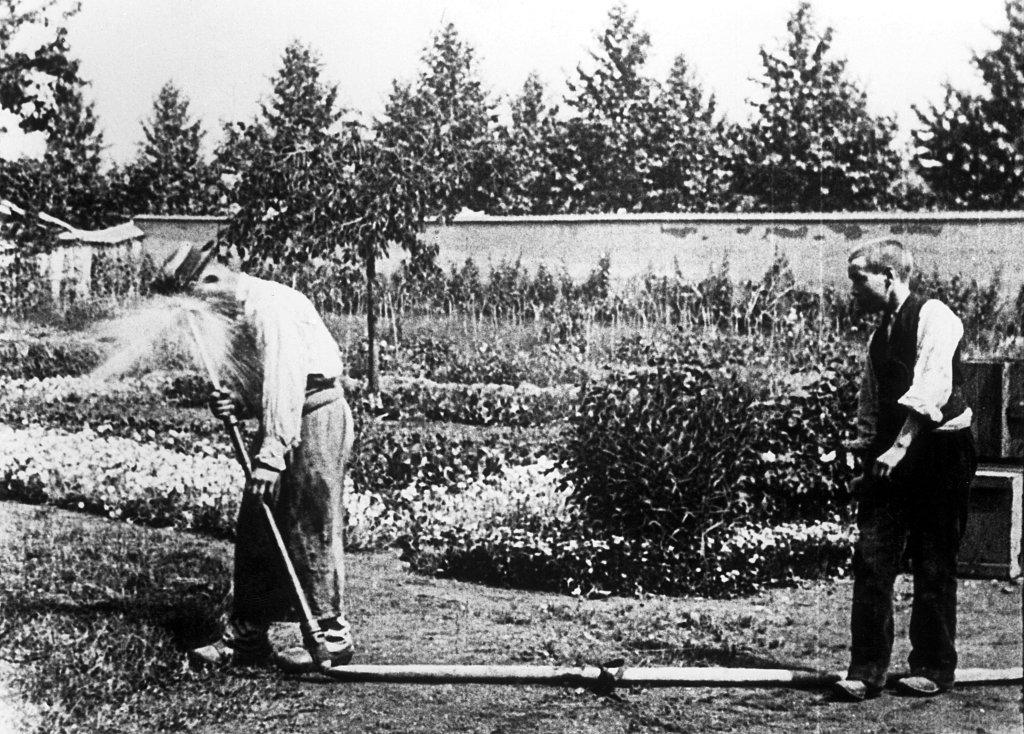 L'arroseur arrose de Louis Lumiere (1895) - Lumiere! Le cinema invente au Musee des Confluences de Lyon