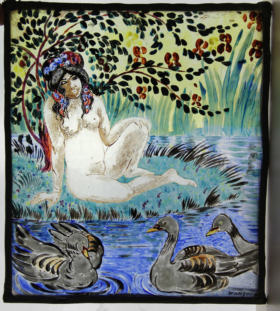 Manzana, La baigneuse et les canards - Manzana et Roboan, un couple d'artiste a la Maison Ravier de Morestel