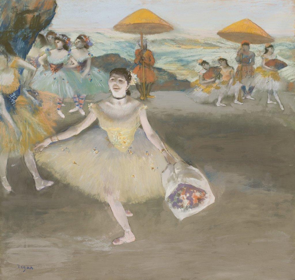 Degas, Danseuse au bouquet, saluant sur la scène, 1878, Degas Danse Dessin, Musée d'Orsay