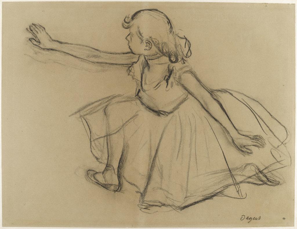 Jeune danseuse agenouillée étendant un bras droit vers la gauche