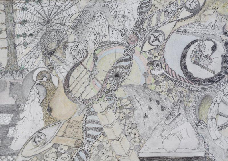 GERINGER Joca, Sans-titre, 2013, crayon de bois et de couleur sur papier, coll. Privée, Turbulences dans les Balkans, Halle Saint Pierre