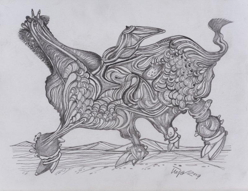 PEJAKOVIC Budimir, Cyclope, 2004, 17,6 x 23,3cm, crayon de bois sur papier, coll. Privée, Turbulences dans les Balkans, Halle Saint Pierre