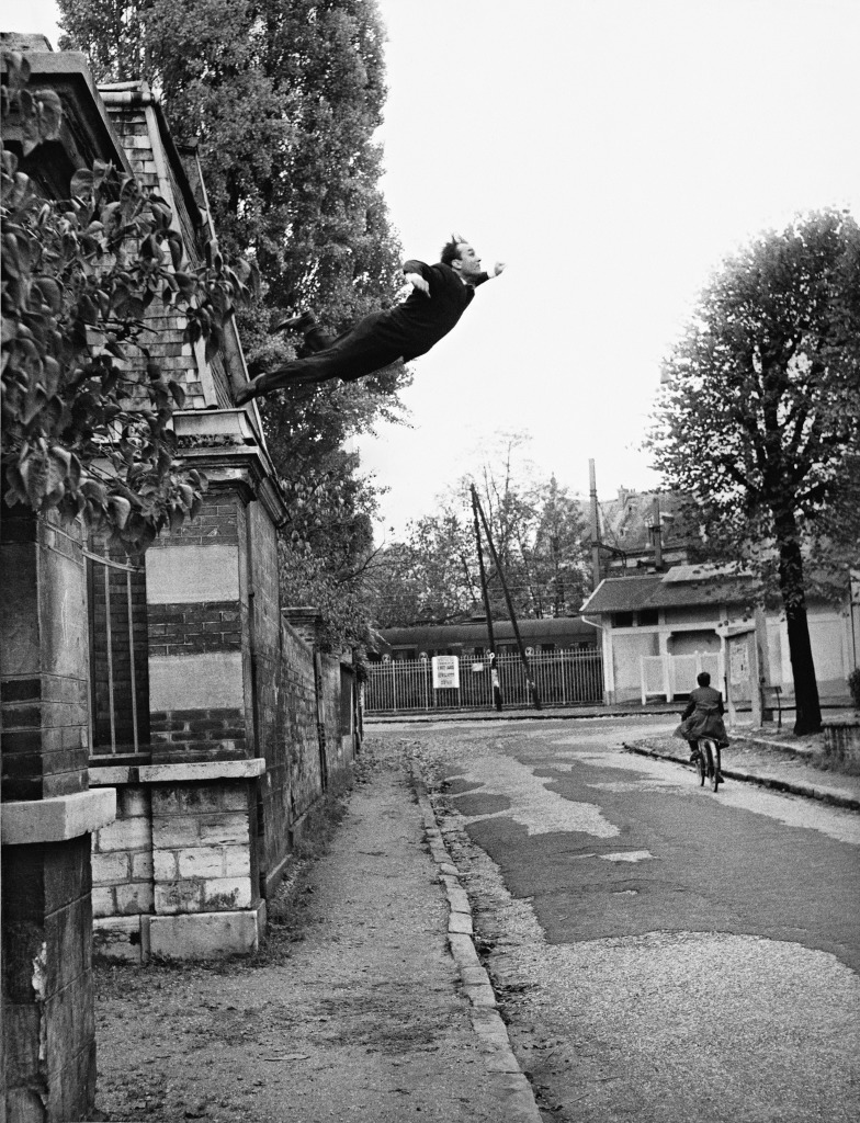 """Leap into the void Harry Shunk, 1924-2006 and János Kender, 1938–2009 Yves Klein's """"Leap Into the Void,"""" Fontenay-aux Roses, France, 1960 October 231960(Yves Klein's """"Saut dans le Vide,"""" Fontenay-aux Roses, France, 1960 October 23)1960 Harry Shunk and Shunk-Kender photographs"""