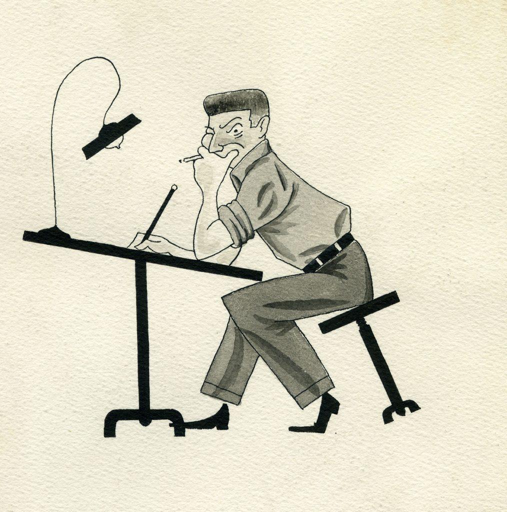 Autoportrait à la table à dessins, 1948, René Goscinny, Musée d'art et d'histoire du Judaïsme