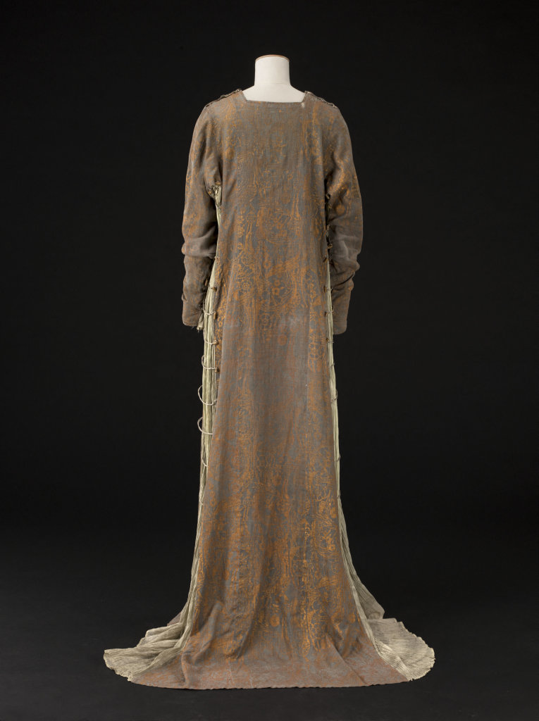 Mariano Fortuny, Robe en toile grise imprimée or - vers 1912