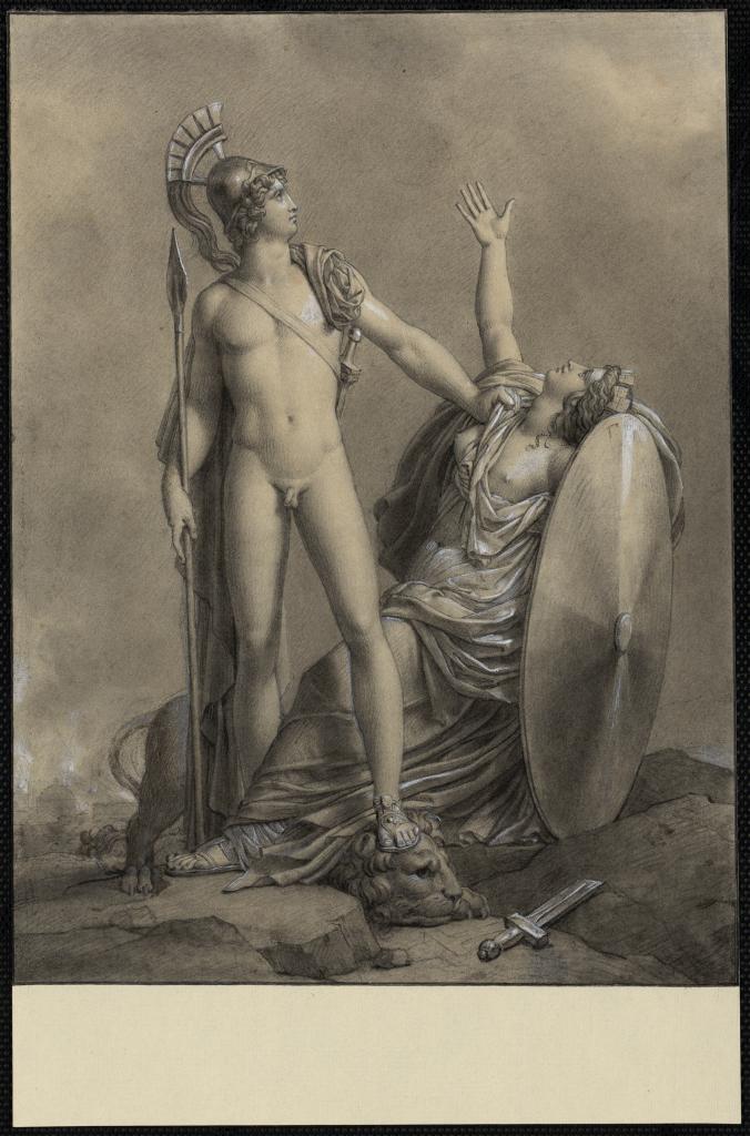 Cléophile, aimée d'Alexandre, s'efforce de convaincre son frère Taxile de s'allier à Alexandre contre Porus Dessin Entre 1793 et 1801