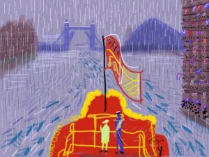 David Hockney, The Queen and Prince Philip on The Spirit of Chartwell in the rain at the Thames, 2012, expo in the city