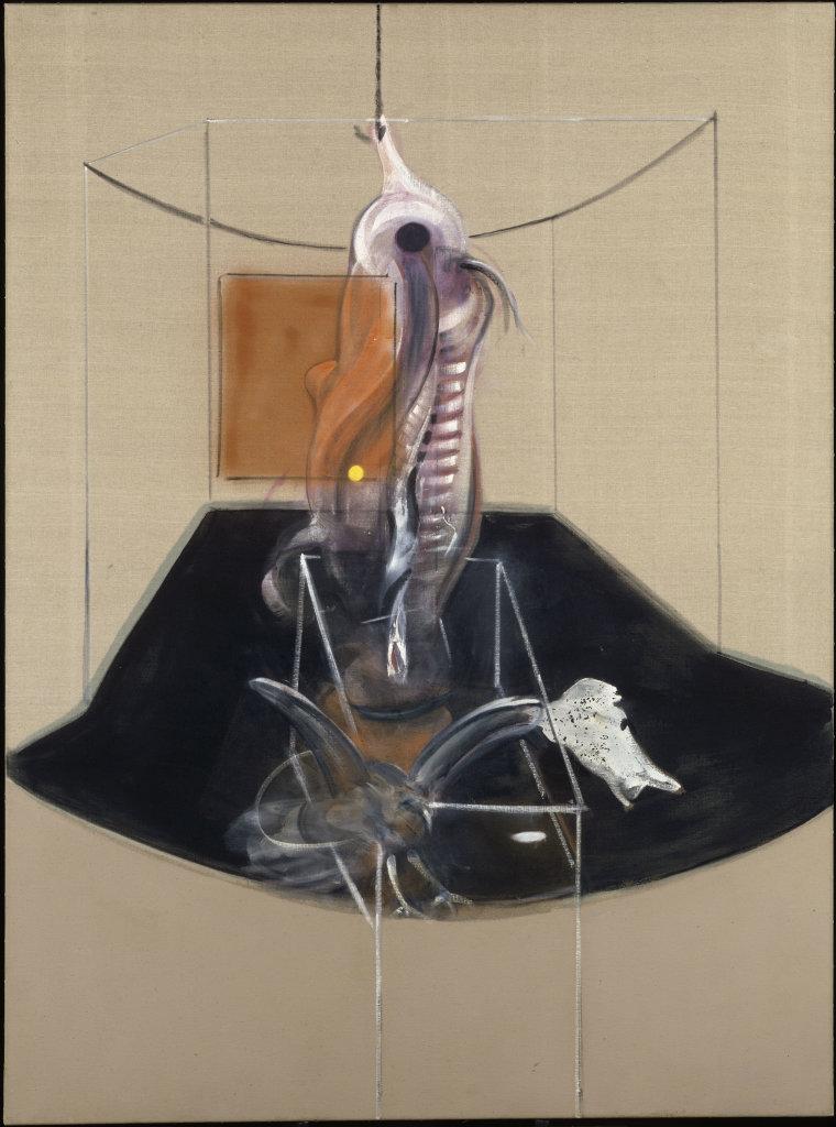 Bacon, Carcasse de viande et oiseau de proie, Face à face, musée Fabre