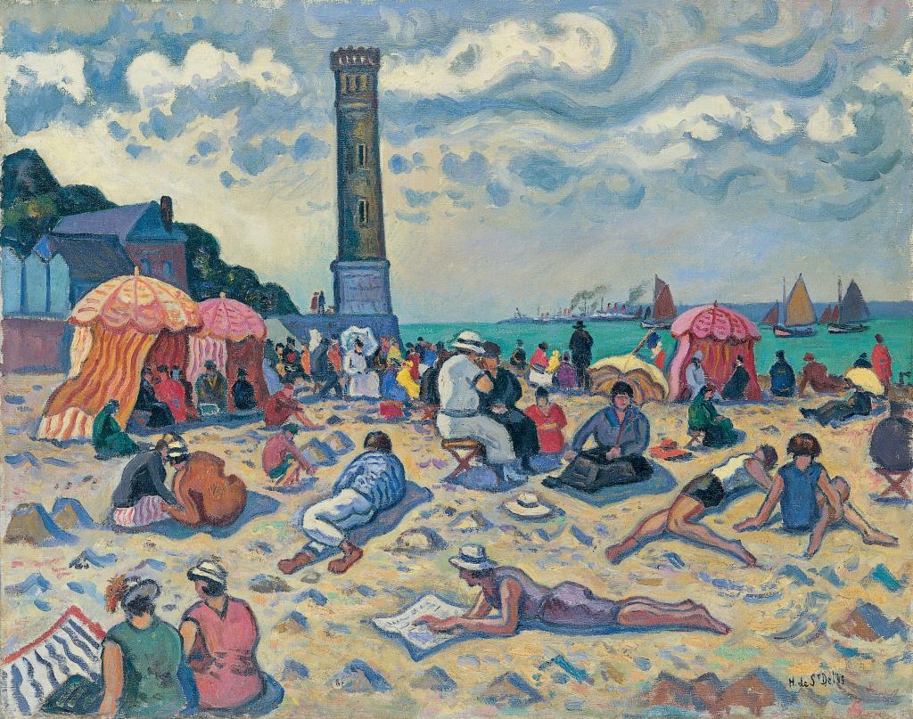 Henri de Saint-Delis, Honfleur, la plage et le phare de l'hopital - Henri et Denis de Saint Delis au Musee Eugene Boudin de Honfleur