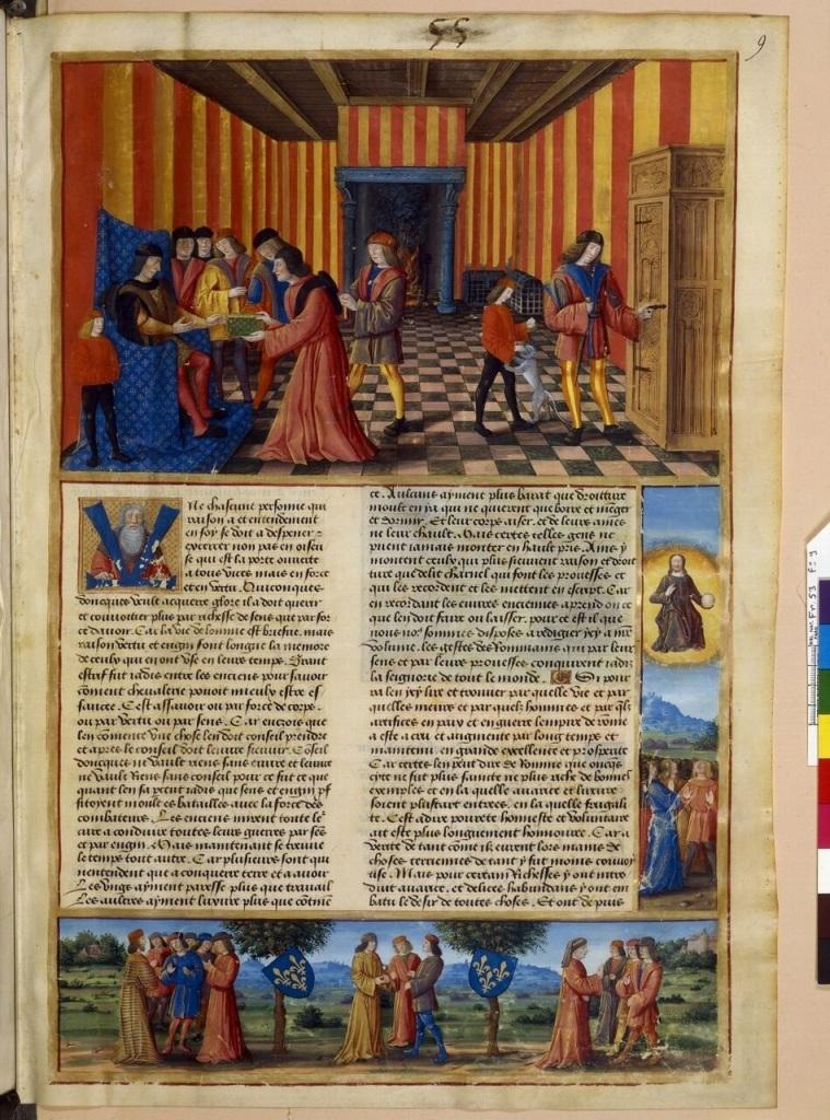 Jean Mansel, La Fleur des histoires, BnF, français 53, folio 9 Etre mecene a la Renaissance, Abbaye de Graville