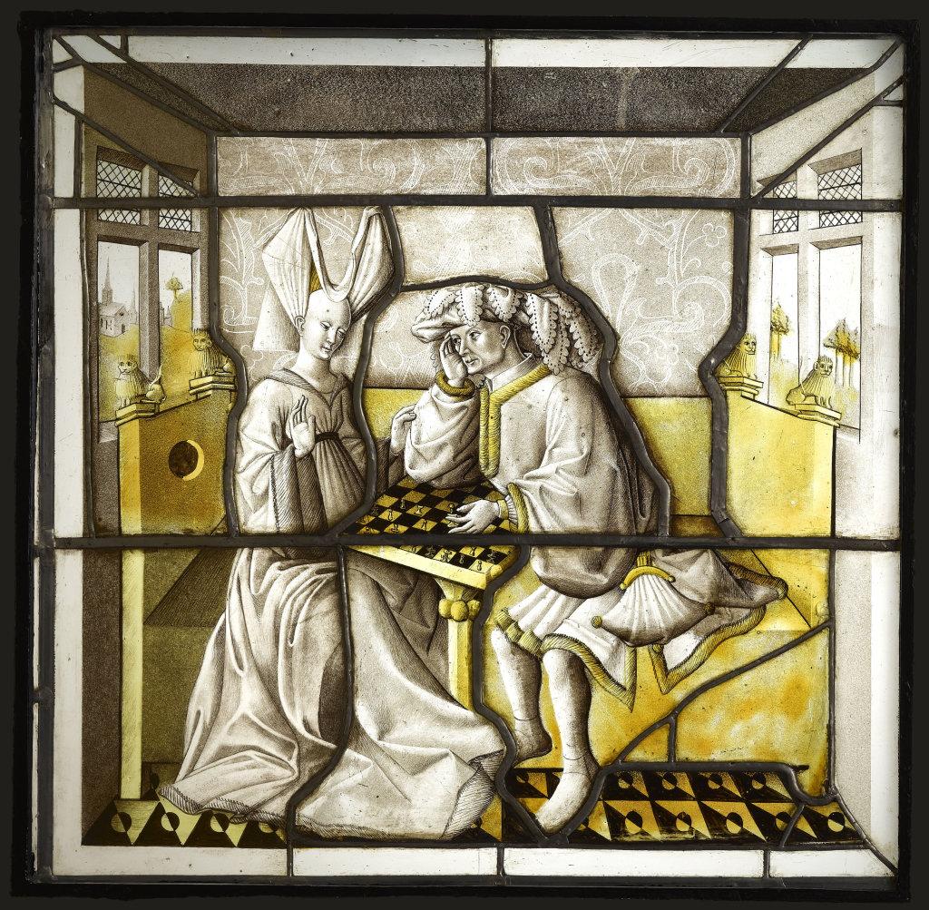 Les joueurs d'échecs, 15e siecle - Exposition Le verre, un Moyen Âge Inventif au Musée de Cluny