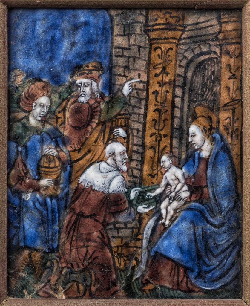 Plaque Emaillee, Adoration des Mages, Limoges XVIe siecle - Etre mecene a la Renaissance, Abbaye de Graville