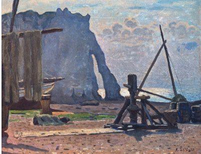 Rene de Saint-Delis, La falaise d'aval, - Henri et Denis de Saint Delis au Musee Eugene Boudin de Honfleur
