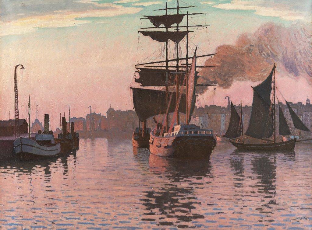 Rene de Saint Delis, Le Port du Havre, - Henri et Denis de Saint Delis au Musee Eugene Boudin de Honfleur