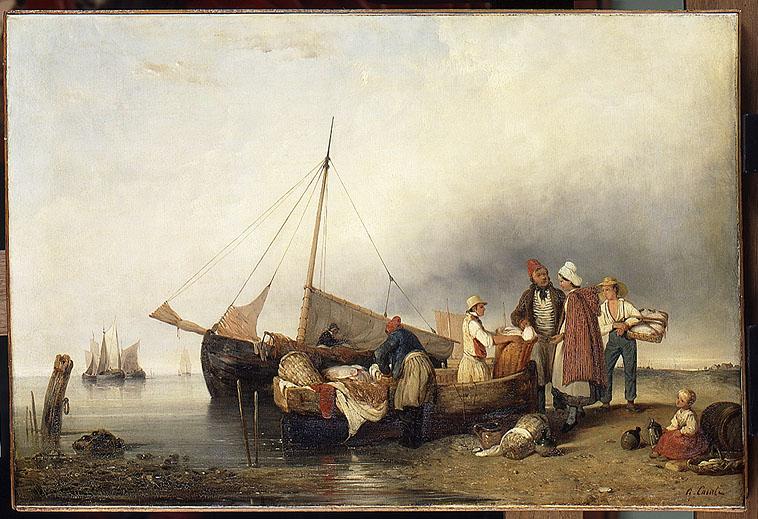 Alexandre Casati, La Vente du poisson, XIXe - Musée maritime de de l'île de Tatihou