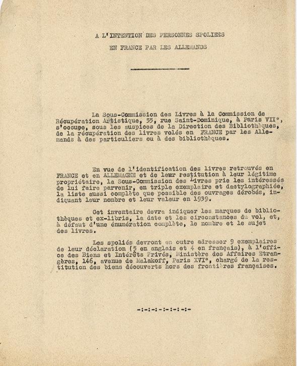 Circulaire de la sous-commission des livres à la commission de Récupération artistique (CRA) diffusée à des propriétaires de bibliothèques présumées spoliées par les Allemands, Exposition Chaos, Archives Nationales