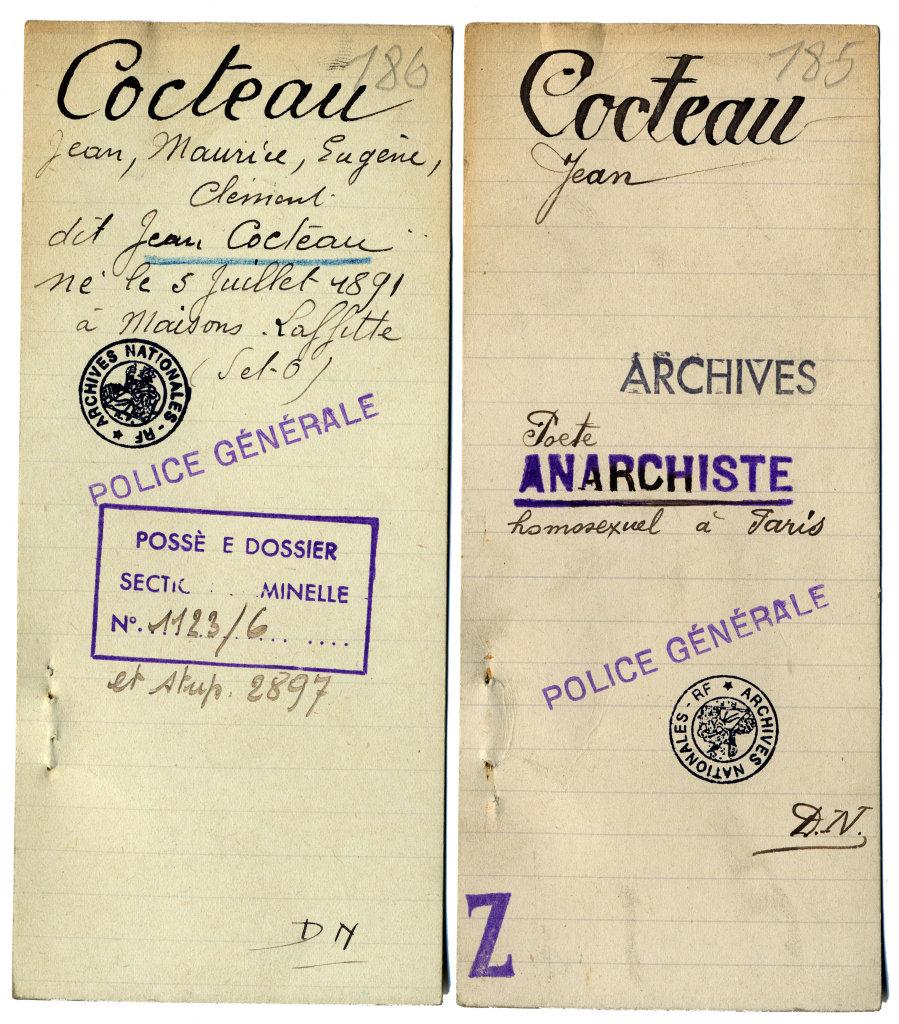 Fiche de renseignements de Jean Cocteau, extraite du fichier central de la Sûreté générale française, Exposition Chaos, Archives Nationales