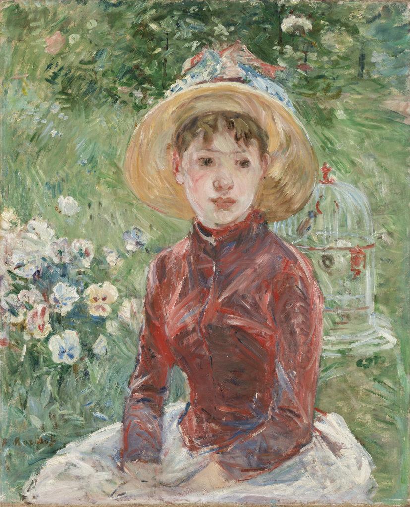 Morisot jeune fille herbe corsage rouge Mlle Isabelle Lambert 1885
