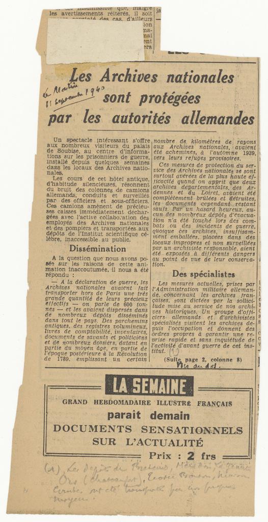 """Article du Matin """"Les Archives nationales sont protégées par les Allemands"""" 11 septembre 1940, Exposition Chaos, Archives Nationales"""
