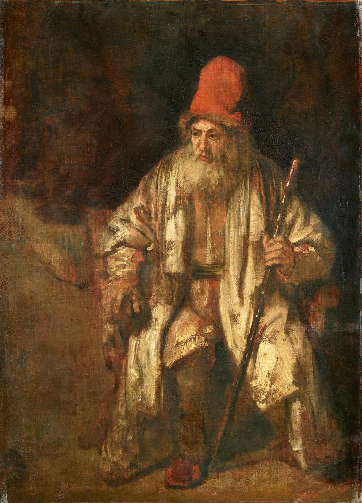 Rembrandt vieillard cape rouge