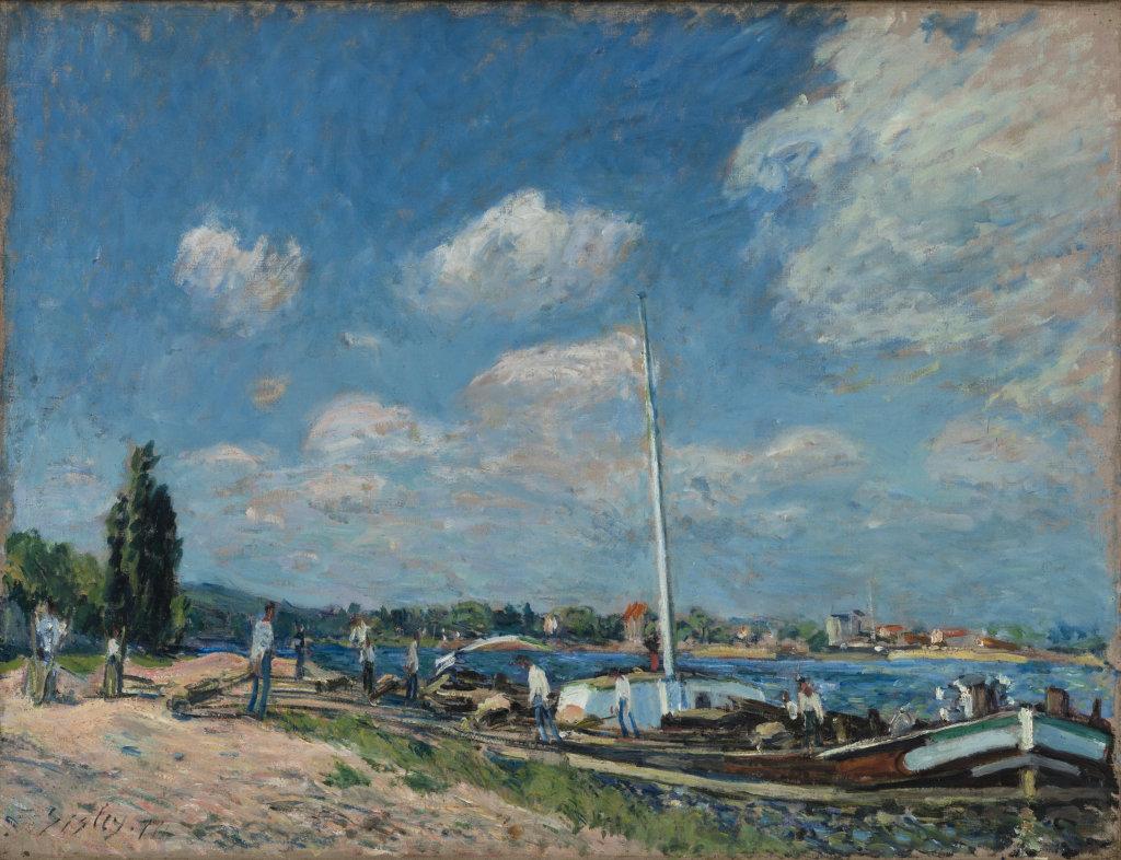 Sisley dechargement peniches Billancourt 1877